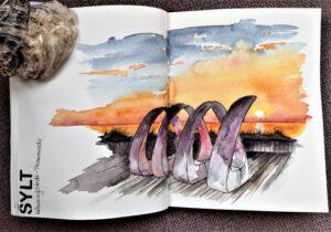 Sylt_Sketching_Reisetagebuch_Wenningstedt_Sonnenuntergang