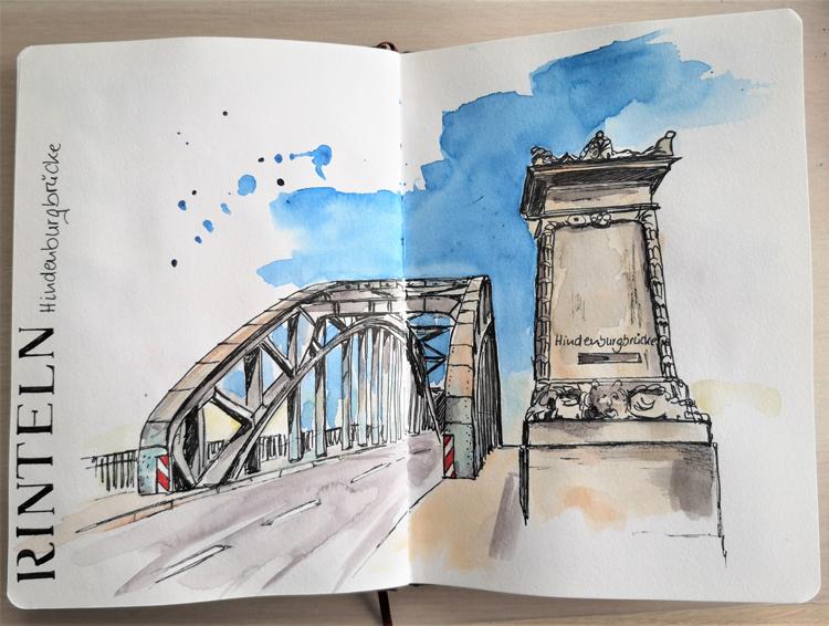 Rinteln_Weserbrücke_Weser_Skizzenbuch