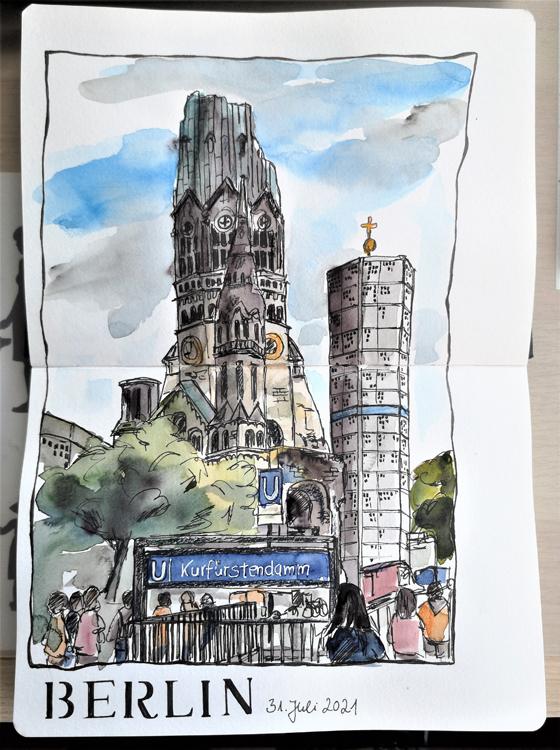 Berlin_Urban-Sketching_Kurfürstendamm_Gedächniskirche
