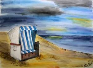 Sylt Strandkorb am Strand, Wolken, Meer, Nordsee, Aquarell auf Papier