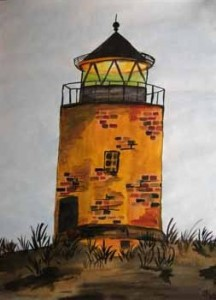 Sylt Kampen Leuchtturm (2008) Aquarell