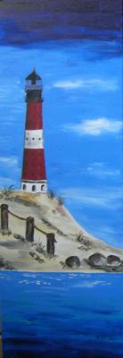 Leuchtturm Trio Hörnum (Sylt), Aquarell auf Keilrahmen, Strand,