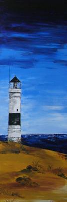 Leuchtturm von Kampen (Sylt), Aquarell auf Keilrahmen, Strand,