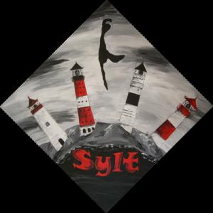 Sylter Leuchttürme schwarzweiß (2009) Acryl