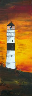 "Sylter Leuchtturm Kampen: ""Trio Orange"" (2009) Acryl"
