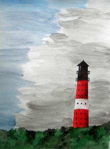 Sylt Leuchtturm Hörnum (2009) Aquarell