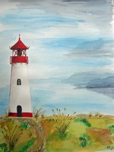 Sylt Leuchtturm List (2009) Aquarell