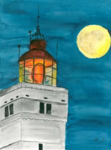 Blavandshuk bei Nacht (2008) Aquarell