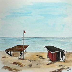 Sylt Kampen Rettungsschwimmerhäuschen Strand bei Sturm