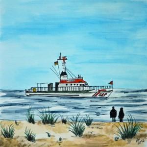 Seenotrettungskreuzer bei Sturm auf Sylt