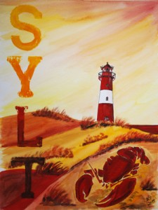 Sylt List Leuchtturm Orange Goschhummer