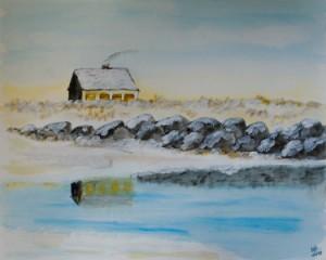 Blavand (Dänemark) - Haus am Strand - Schneelandschaft