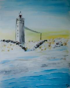 Blavand Leuchtturm am Strand in Schneelandschaft