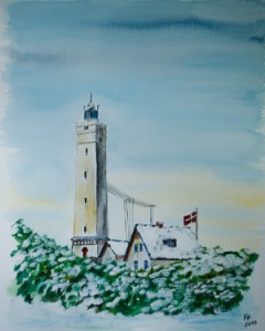 Blavand (Dänemark) Leuchtturm im Schee
