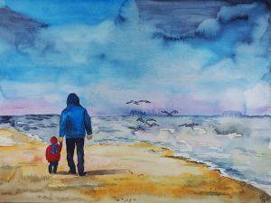 Strand Vater und Kind