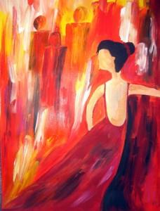 Ballbesucherin, Tänzerin, rote Farben