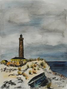 Skagen-Greenen-Leuchtturm-Boot